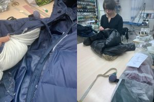 """На фото увея ремонтирует молнию на куртке в ателье """"Новый образ"""""""