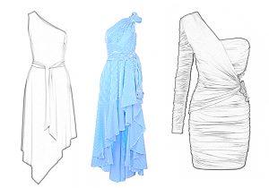 Иллюстрация вечернего платья с ассиметричным вырезом