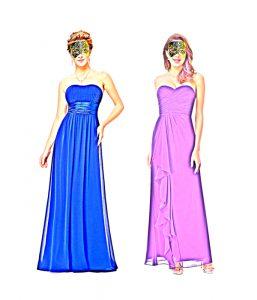 На иллюстрации вечернее платье без бретелек