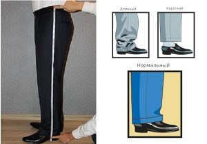 На изображении измеряют длину брюк