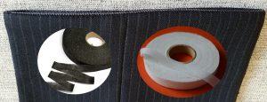 На фото липкие ленты паутинки для подшивки брюк